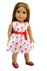 My Brittany's Satin Valentines Day Hearts Dress for American Girl Dolls- 18 Inch Doll Clothes