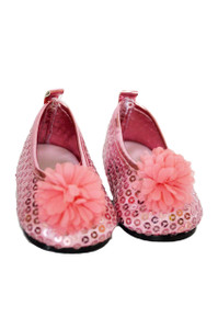 My Brittany's Pink Sequin Flower Flats for Wellie Wisher Dolls