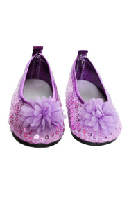 My Brittany's Lavender Sequin Flower Flats for Wellie Wisher Dolls