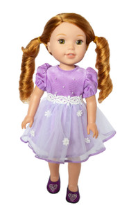 My Brittany's Easter Lavender Dress for Wellie Wisher Dolls-Hearts for Hearts Dolls and Glitter Girl Dolls