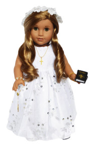 My Brittany's Communion Gown with Sequin Bottom for American Girl Dolls- 18 Inch Doll Clothes