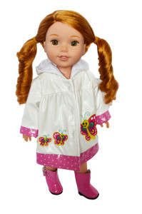 My Brittany's Butterfly Raincoat for Wellie Wisher Dolls- 14 Inch Doll Raincoat
