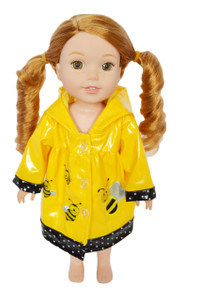 My Brittany's Bumble Bee Raincoat for Wellie Wisher Dolls-Glitter Girl Dolls-Hearts to Hearts Dolls- 14 Inch Doll Raincoat