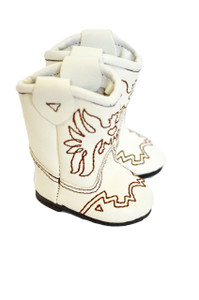 My Brittany's White Western Boots with Brown Stitching for Wellie Wisher Dolls and Glitter Girl Dolls- 14 Inch Doll Boots