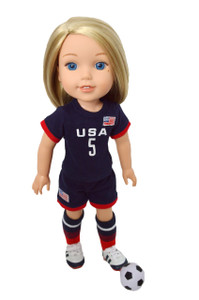 My Brittany's USA Soccer Outfit for Wellie Wisher Dolls and Glitter Girl Dolls