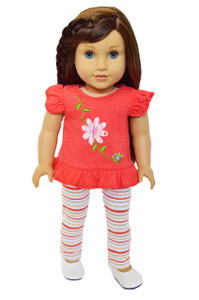 My Brittany's Striped Flower and Leggings Set for American Girl Dolls-18 Inch Doll Clothes