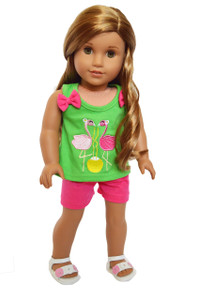 My Brittany's Pink Flamingos Short Set for American Girl Dolls-18 Inch Doll Clothes
