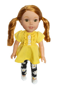Daisy Leggings Set for Wellie Wisher Dolls, Glitter Girls, Hearts for Hearts Dolls- 14 Inch Doll Clothes