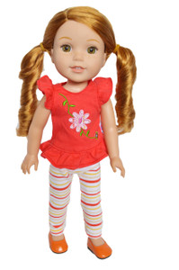 My Brittany's Flower Top and Striped Leggings Outfit for Wellie Wisher Dolls, Glitter Girl Dolls and Heart for Hearts Dolls- 14 Inch Doll Clothes