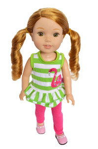 My Brittany's Flamingo Top and Leggings Set for Wellie Wisher Dolls,Hearts for Hearts Dolls and Glitter Girl Dolls- 14 Inch Doll Clothes