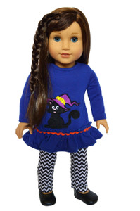 My Brittany's Cat and Witches Hat Outfit for American Girl Dolls, My Life as Dolls and Our Generation Dolls-18 Inch Doll Clothes