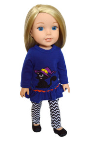 My Brittany's Cat and Witches Hat Outfit for Wellie Wisher Dolls, Glitter Girl Dolls and Hearts for Hearts Dolls- 14 Inch Doll Clothes