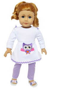 My Brittany's Lavender Owl Outfit for American Girl Dolls- 18 Inch Doll Clothes