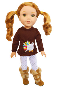 My Brittany's Colorful Turkey Outfit for Wellie Wisher Dolls- 14 Inch Doll Clothes