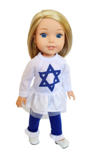 My Brittany's Hanukkah Star of David Outfit for Wellie Wisher Dolls-14 Inch Doll Clothes