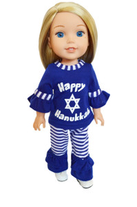 My Brittany's Hanukkah Outfit for Wellie Wisher Dolls- 14 Inch Doll Clothes