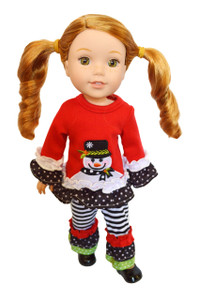 My Brittany's Snowman Outfit for Wellie Wisher Dolls- 14 Inch Doll Clothes