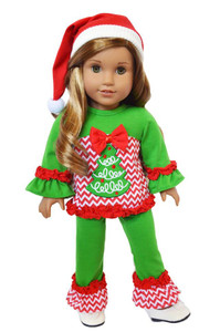 "My Brittany's ""Oh Christmas Tree"" Lounge Set for American Girl Dolls- 18 Inch Doll Clothes"