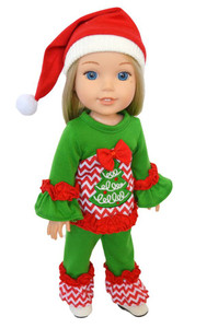 "My Brittany's ""Oh Christmas Tree"" Lounge Set for Wellie Wishers ,Glitter Girl Dolls and Hearts for Hearts Dolls - 14 Inch Doll Clothes"