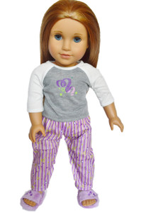 My Brittany's Grey and Purple Pjs Set with Slippers  for American Girl Dolls- 18 Inch Doll Pjs