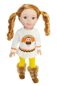 My Brittany's Mustard Turkey Outfit for Wellie Wisher Dolls, Glitter Girl Dolls and Hearts For Hearts Dolls- 14 Inch Doll Clothes