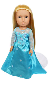 My Brittany's Elsa Inspired Gown for Wellie Wisher Dolls, Glitter Girl Dolls and Hearts for Hearts Dolls- 14 Inch Doll Clothes