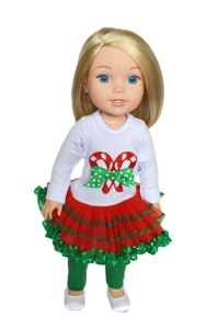 My Brittany's Candy Cane Lane Outfit for Wellie Wisher Dolls