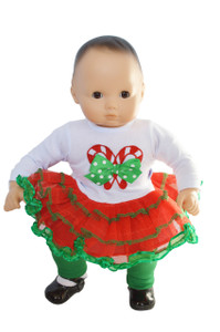 My Brittany's Candy Cane Lane Outfit for Bitty Baby and Bitty Twin Dolls- 15 Inch Doll Clothes