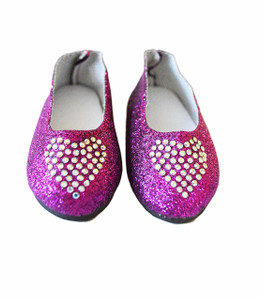 My Brittany's Purple Heart Shoes Compatible with Wellie Wisher Dolls and Glitter Girl Dolls