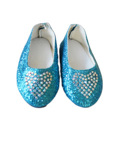 My Brittany's Blue Heart Shoes Fits Wellie Wisher Dolls and Glitter Girl Dolls
