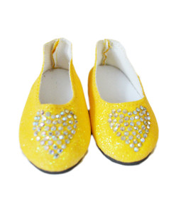 My Brittany's Yellow Heart Shoes Fits Wellie Wisher Dolls and Glitter Girl Dolls