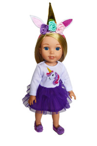 My Brittany's Purple Unicorn Outfit for Wellie Wisher Dolls, Glitter Girl Dolls and Hearts for Hearts Dolls