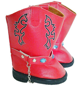 My Brittany's Red Western Boots with Gems For American Girl Dolls
