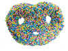 Nonpareil:Chocolate covered pretzels topped with multi-colored nonpareil seeds