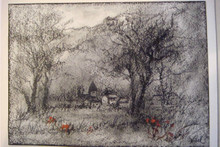 Countryside - Charcoal and Oil