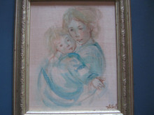 Mother and Child  - oil on silk