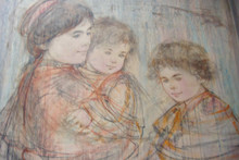 Mother and Two Boys - Unique and Oil