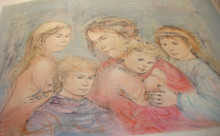 Mother and 4 Children - Horizontal - Artist Proof and Pastel