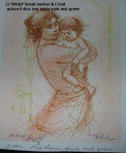 Small mother and Child -Artist Proof and note - with love,  edna  Sepia and Pink