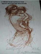 Small Mother and Child - Artist Proof and  note - with love, Edna Keystone Brown