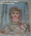 Girl with Paint Brush - Artist Proof and Pastel - note - with love, Edna