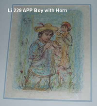 Boy with Horn - Artist Proof and Pastel