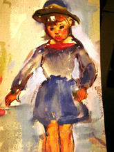 Pretty Girl c.1927 watercolor