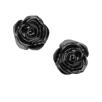 E339 - Black Rose Stud Earrings
