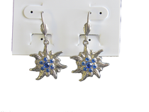 Edelweiss Earrings with Blue Swarovski stones