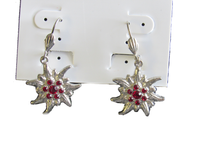 Edelweiss Earrings with Red Swarovski stones