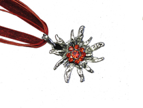 Swarovski Crystal Edelweiss Necklace Red