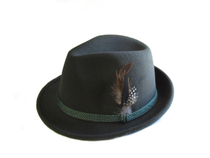 Green Polyester German and Tyrolean Trachten Hat w/ feather