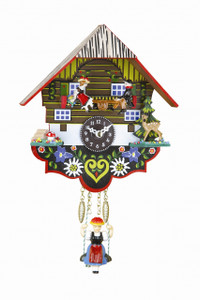 A small Bavarian Cuckoo Clock with swinging Girl and boy and girl on a teeter-totter. Cuckoos on the hour.