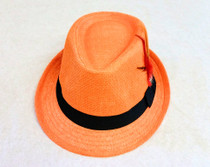 Trilby Hat with feather - Orange